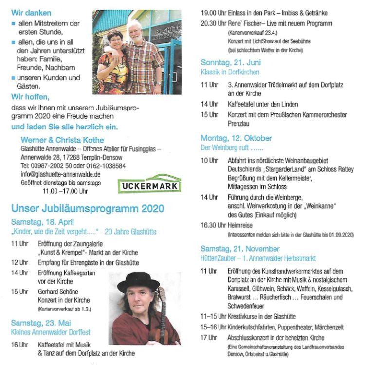 Programm 20 Jahre Glashütte Annenwalde